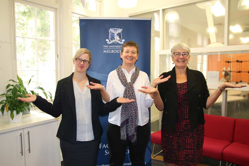 Dr Charlotte Williams, Colette Boskovic and Professor Penny Brothers joined together to celebrate International Women's Day